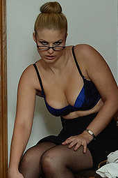 Hot Blonde Secretary Strips Off Her Blue Bra
